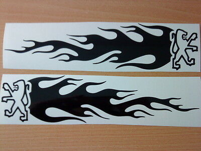 "small 8x2"" peugeot sport vinyl car stickers flames side graphics decals racing"
