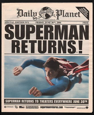 DAILY PLANET SPECIAL ED #1 INSERT 6/30/06 Metropolis Planet - SUPERMAN RETURNS