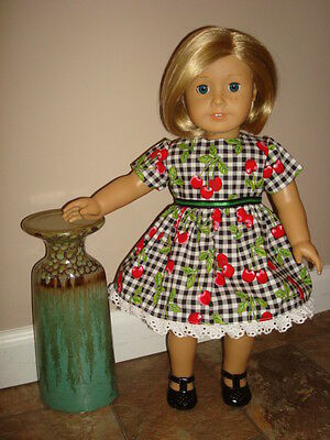 Handmade Doll Clothes fits/for 18 in. American Girl ~ Red & Black Cherries Dress