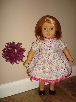 Handmade Doll Clothes fits/for 18 in. American Girl ~ Purple Dots Print Dress