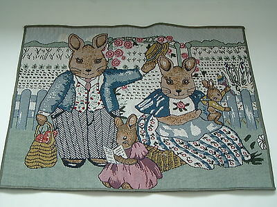 Tapestry style placemat set and table runner with bunny design