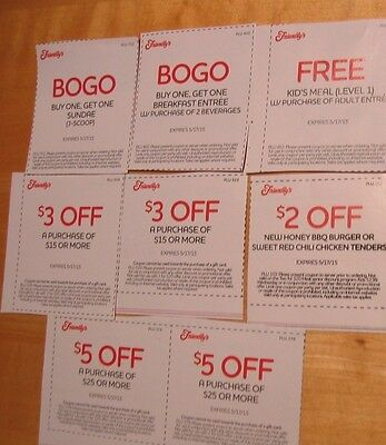 Friendly's 8 coupons~exp 05/17/15~$18 off+3 BOGO