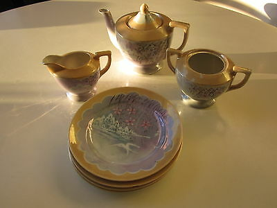 Lusterware Tea Set with 4 Plates Made in Japan