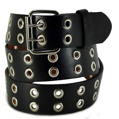 Men Women 2 Hole Silver Grommet Leather Belt BLACK S / M / L / XL / 2XL/ 3XL/4XL