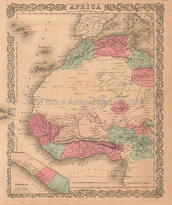 Morocco Nigeria Liberia Africa Antique Map Colton 1859 Original