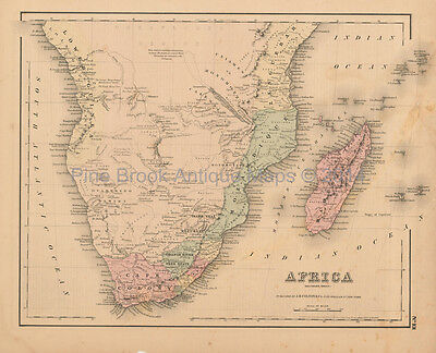 Southern Africa Antique Map Colton 1858 Original