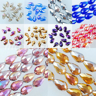 10x14mm High-quality Crystal Faceted Teardrop Loose Beads MBA027
