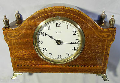 Mahogany Inlaid Mantel Clock c1930's - Superb Working [PL-4129]