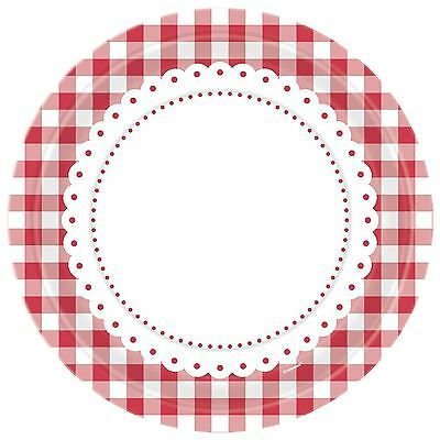 8 Red Gingham Lunch Plates Party Tableware Decorations Birthday Catering Round