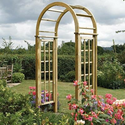Wooden Pressure Treated Garden Arch Trellis Side Round Top Timber Wood Arch New