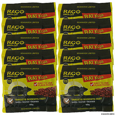 10 x 100g DIFENACOUM RAT & MOUSE RODENT POISON KILLER BAIT (TOTAL 1kg)