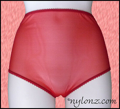 Vintage Style Completely Sheer Transparent Nylon FULL CUT Panties RED