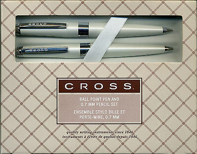 Cross Cardinal Pearlescent White Ball-Point Pen and Pencil Set