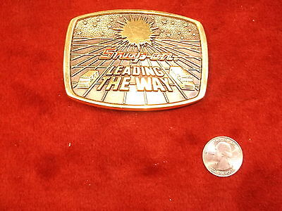 """Nice Old Vtg 1988 Solid Brass 'bts' Snap-On Tools Belt Buckle """"leading The Way"""""""