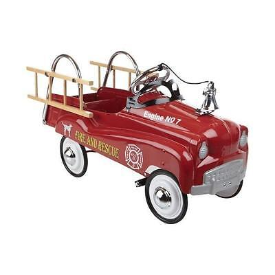 Red Fire Truck Pedal Car Outdoor Ride On Toy Play Man Fighter Hat Vintage Retro