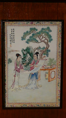 """ANTIQUE EARLY 20C CHINESE PORCELAIN  PLAQUE """"TWO YOUNG GIRLS WITH THE SCROLl"""