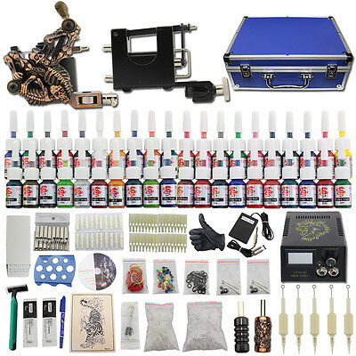 Kit Tatuaggio 2 Tattoo Machine Macchinetta Tatuaggi Power Supply 40 Ink DC17