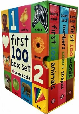 First 100 Soft to Touch 3 Books Collection Box Set Words, Animals, Colours Shape