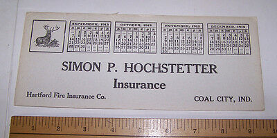 1913 Simon P Hochstetter HARTFORD FIRE INSURANCE Ink Blotter COAL CITY INDIANA