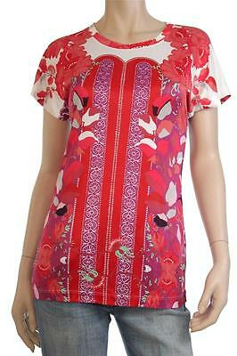 """BNWT CLASS Roberto Cavalli """"Floral Design"""" White/Red T-Shirt Size 44 (L)"""