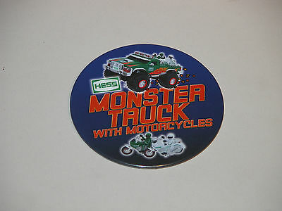 Hess 2007 Monster Truck With Motorcycles Cashier Button Mint & Regular 2007 Bag