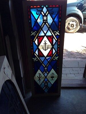 Sg 151 Antique Painted In Fired Stained Glass Window With Anchor
