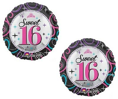 "SWEET 16 16th Sixteen Black Swirl Colors (2) 18"" Birthday Party Mylar Balloons"