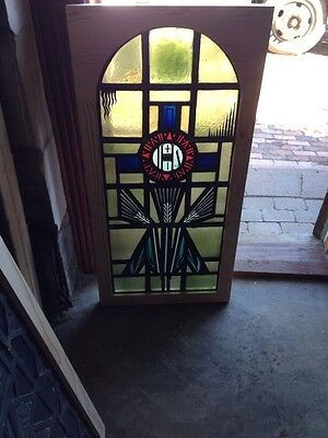 Antique Religious Window Painted In Fired Depicting Wheat