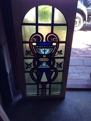 Antique Stained Glass Window Painted And Fired Depicting Chalice For Communion
