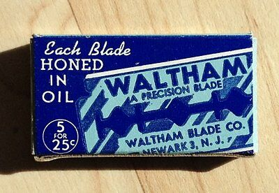 Vintage Pack of 5 Five Waltham Double Edge Razor Blades Surgical Steel NOS