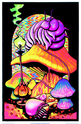 Alice in Wonderland Dreaming Flocked Blacklight Poster Art Print, 23x34