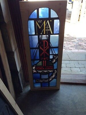 Sj 159 Antique Religious Symbolism Painted And Fired Window