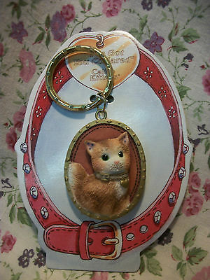 Calico Kittens Key Chain Gold Trim 454842
