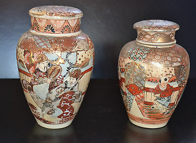 Antique Japanese Satsuma Circa 1900 Set Of 2 Jars With Lid