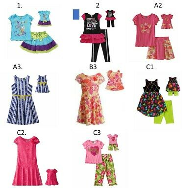 "Dollie Me Sz 5-14 and 18"" doll matching  dress outfit clothes fit american girl"