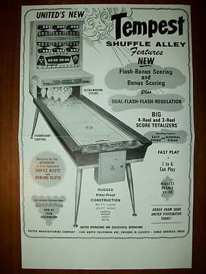 1964 United TEMPEST Shuffle Alley & TORNADO Ball Bowler Flyer