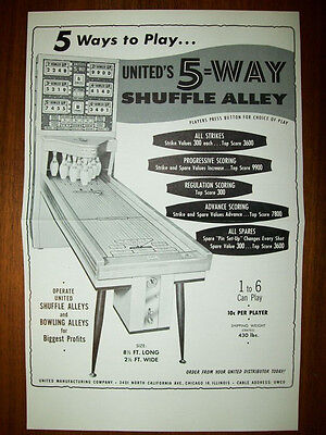 1961 United 5-WAY Shuffle Alley & CLASSIC Ball Bowler Flyer