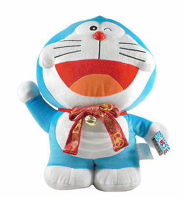 """Brand New 14"""" Red Ribbon Doraemon Stuffed Soft Plush Doll Toy by Taito!"""