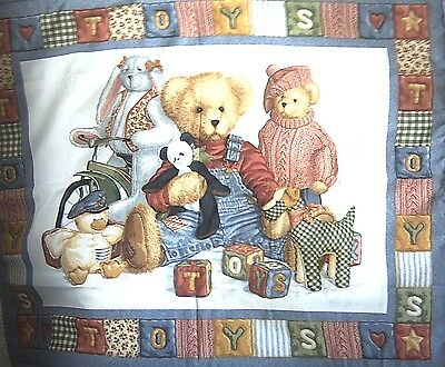 Blue Jeans Teddy  and Toys cot quilt