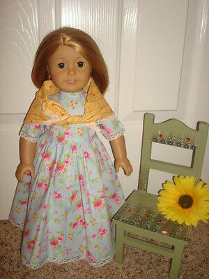 Handmade Doll Clothes fits/for 18 in. American Girl ~ Blue Floral Dress & Shawl
