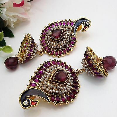 """Indian Bridal/Party Wear Polki Jhumka Earrings Length (3.5""""Inches)"""