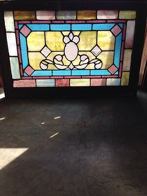Sg 169 Antique Stained Glass Window With Bevels Very Colorful