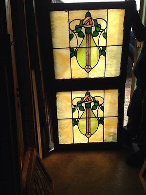 Sg 174 Two Available Arts And Crafts Floral Scenic Windows