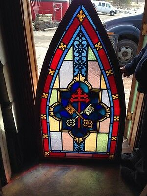 Sg 175 Antique Gothic Arch Painted Window With Keys