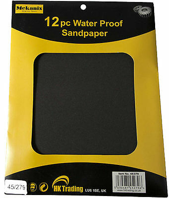 12 X WET AND DRY ASSORTED EMERY SAND PAPER FINE EXTRA FINE MEDIUM COARSE SHEETS
