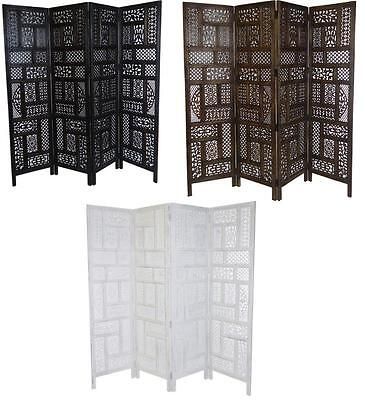 4 Panel Hand Carved Indian Screen Wooden Screen Divider Circle Jali 177x183cm