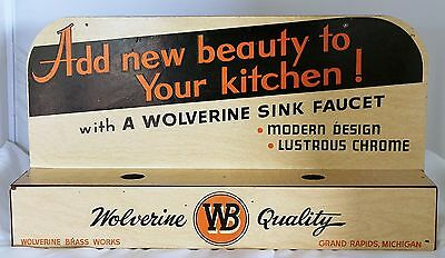 1950s ADVERTISING WOLVERINE BRASS WORKS FAUCET DISPLAY SIGN UNIQUE DISPLAY NR