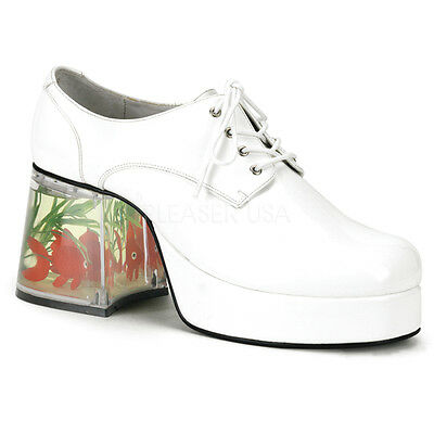 PIMP02/W Men's White Platform Disco Pimp Mac Daddy Goldfish Heel Costume Shoes