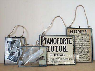 """Antique Silver Metal & Glass Hanging Photo Frame Vintage Style 6x4"""" 7x5"""" & 10x8"""""""