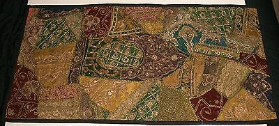 ZARI WORK HAND EMBROIDERED ANTIQUE WALL TAPESTRY/THROW/HANGING BEADS FROM INDIA